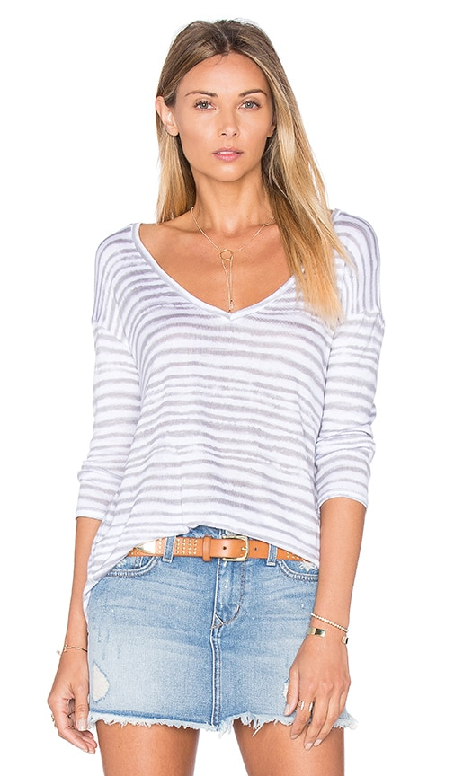Splendid O'Keeffe Stripe Loose Knit Top in Grey