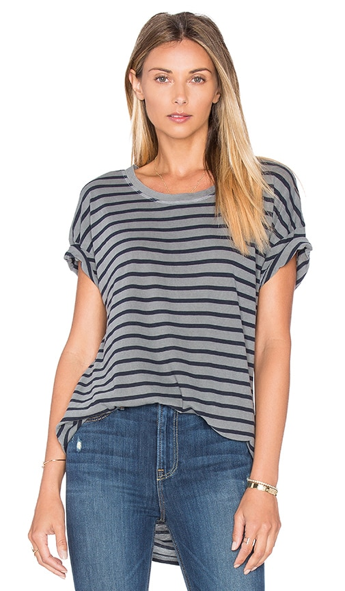 Splendid Sequoia Yarn Dye Stripe Tee in Gray