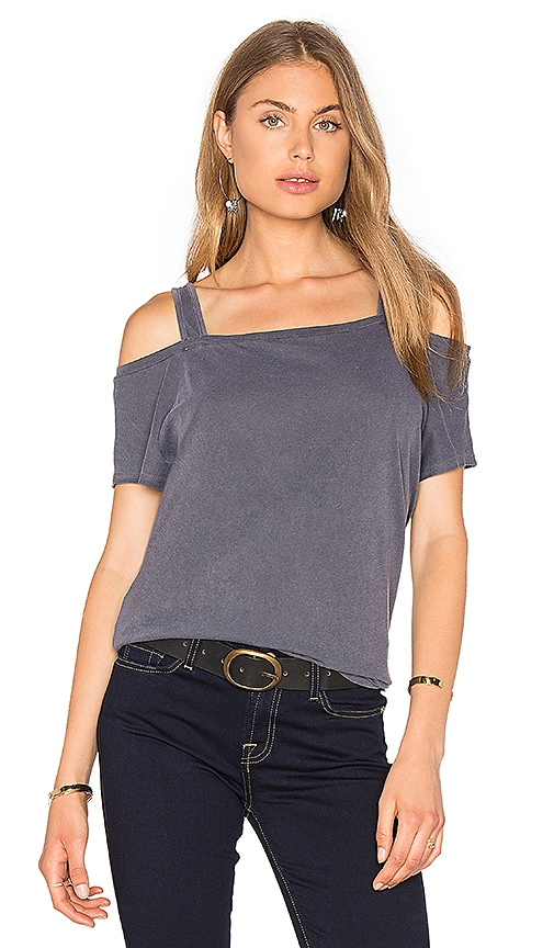 Splendid Vintage Whisper Open Shoulder Top in Charcoal