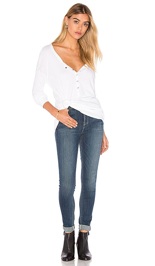 Splendid 1x1 Half Button Up Top in White