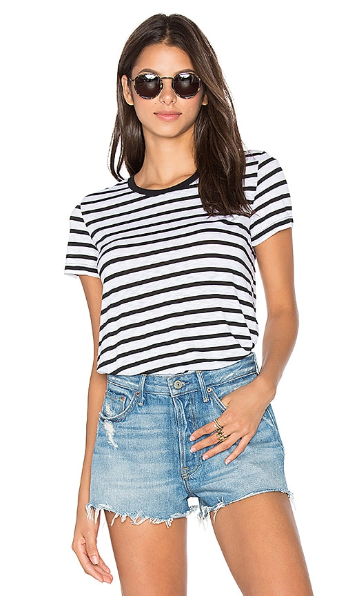 Splendid Cerine Slub Stripe Crew Neck Tee in White