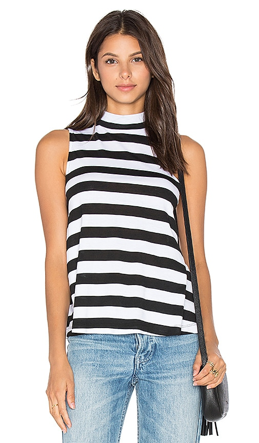 Splendid Delcia Rugby Stripe Turtleneck Tank in Black & White