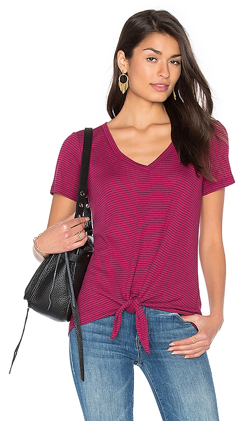 Splendid Codette Mini Variegated Rib Stripe Tied Waist Tee in Red
