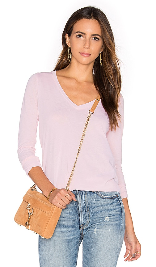 Splendid Vintage Whisper Long Sleeve V Neck Tee in Pink