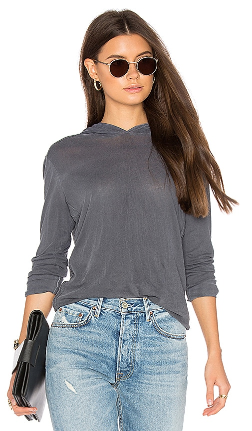 Splendid Vintage Whisper Long Sleeve Hoodie in Gray