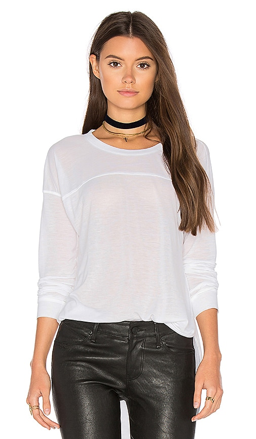 Splendid Heathered Long Sleeve Crew Neck Tee in White