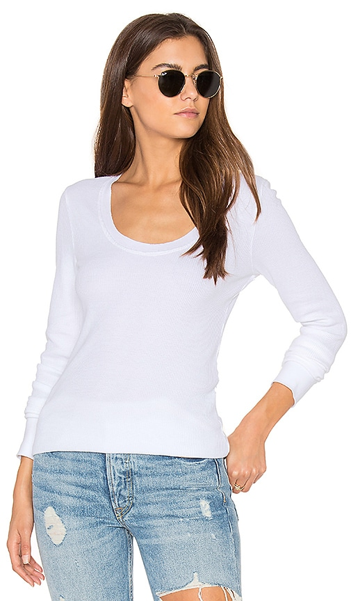 Splendid Nordic Thermal Long Sleeve Scoop Tee in White