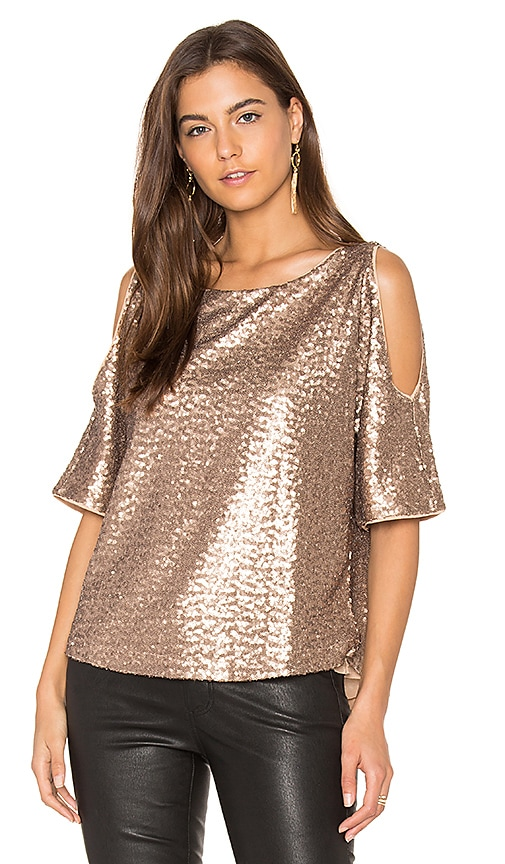 Splendid Sequin Embellished Cut Out Shoulder Top in Metallic Copper