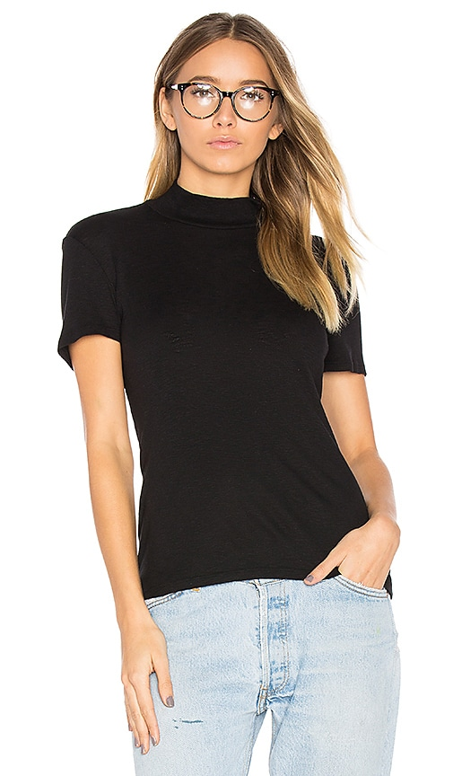 Splendid 1 X 1 Mock Neck Top in Black