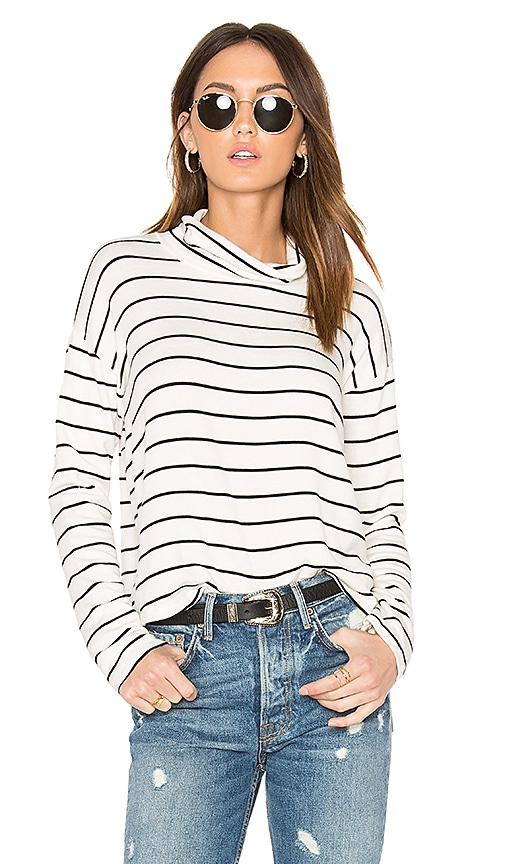 Splendid Dune Stripe Mock Neck Top in White