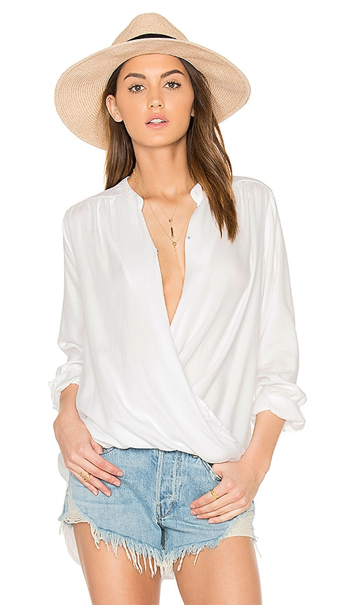 Splendid Crosshatch Blouse in White