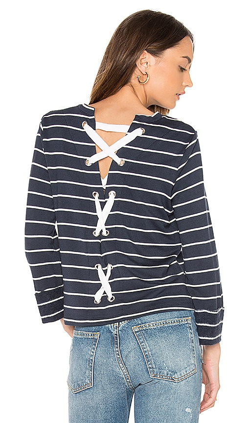Splendid Dune Stripe Lace Up Back Top in Navy
