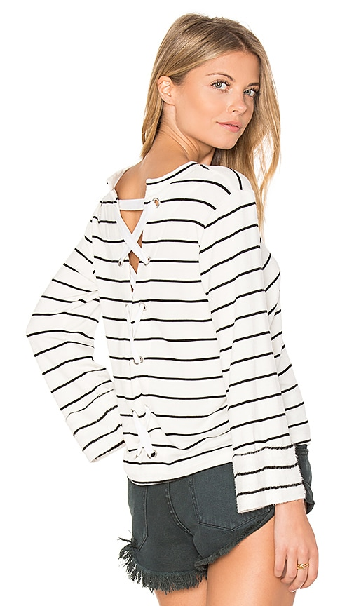 Splendid Dune Stripe Lace Up Back Top in White