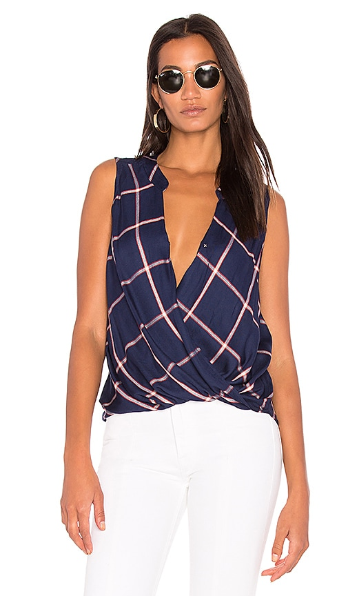 Splendid Reily Plaid Wrap Top in Blue