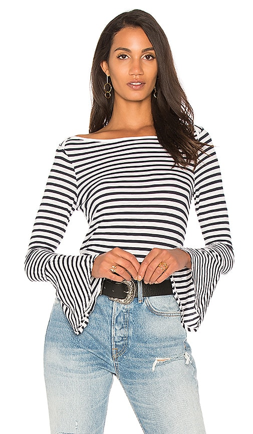 Splendid French Stripe Bell Sleeve Tee in White