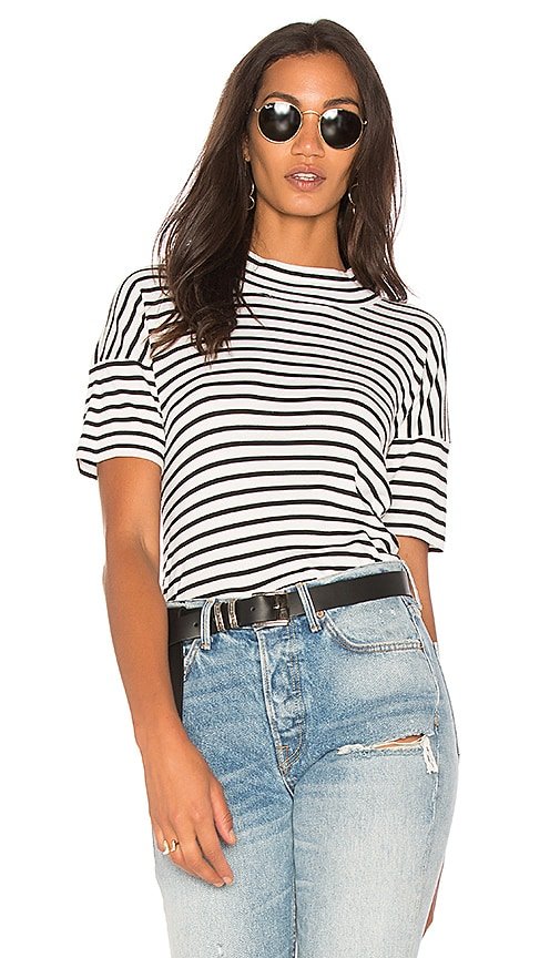 Splendid Black Venice Stripe Tee in White