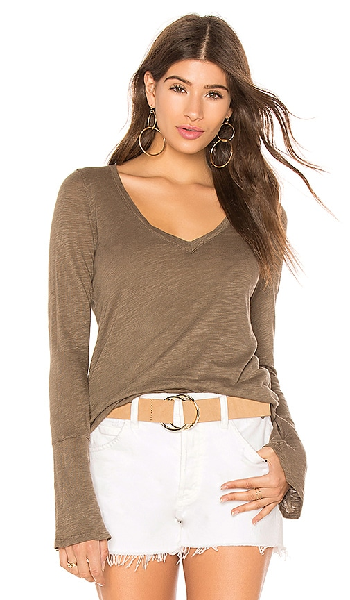 Splendid Cotton Slub Long Sleeve Top in Olive