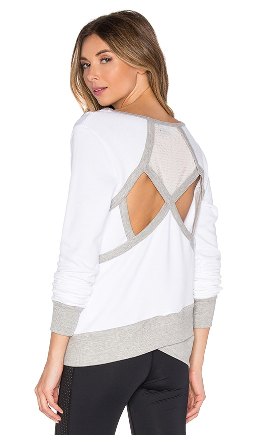Splits59 Dylan Sweatshirt in White & Heather Light Grey