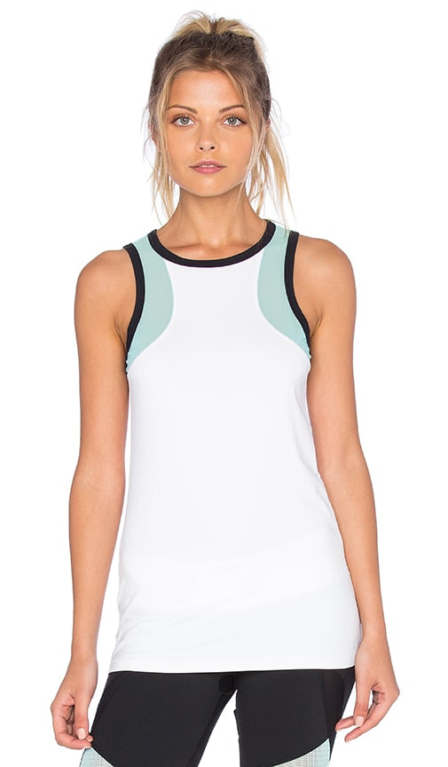 Splits59 Cruz Tank in White, Black & Turquoise