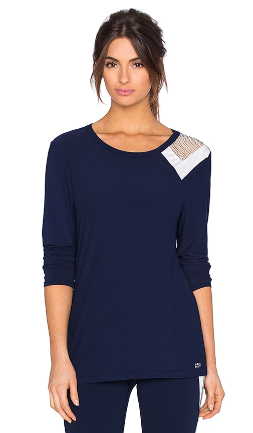 Splits59 Arden Long Sleeve Tee in Indigo & White