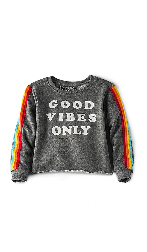 Spiritual Gangster Good Vibes Only Crop Sweatshirt in Charcoal