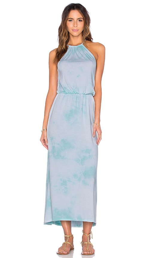 Spiritual Gangster Cloud Treatment Halter Maxi Dress in Turquoise