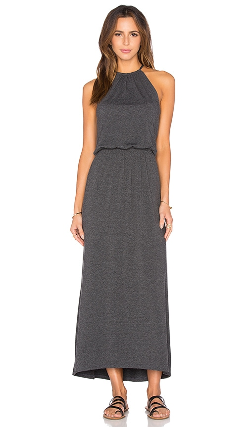 Spiritual Gangster Solid Halter Maxi Dress in Charcoal