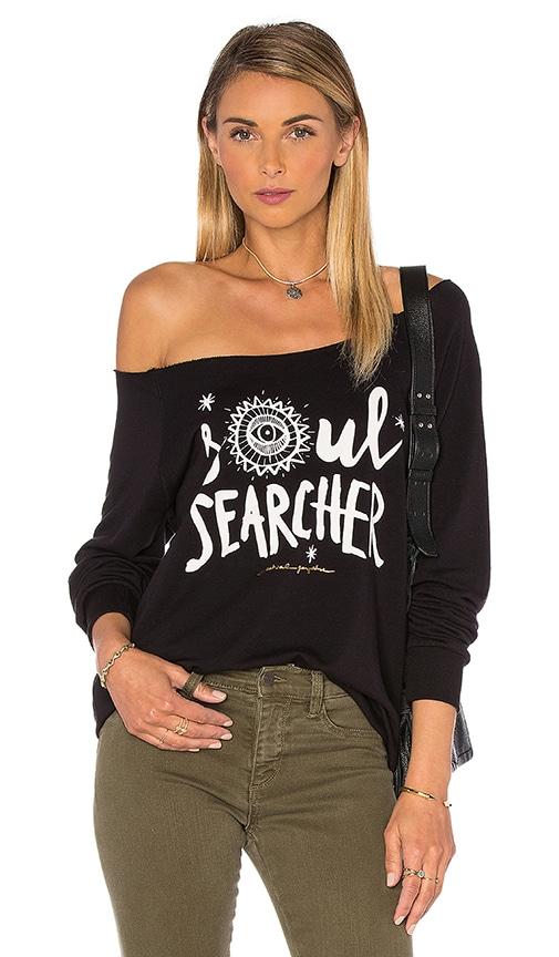 Spiritual Gangster Soul Searcher Tribal Muse Off Shoulder Pullover in Black