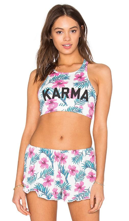 Spiritual Gangster Karma Print Racerback Bra Top in Hibiscus Multi