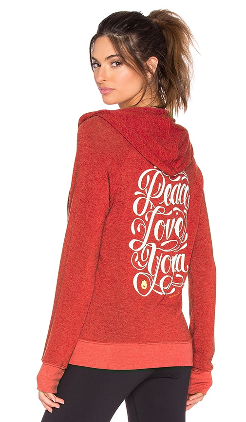 Spiritual Gangster Peace Love Yoga Flourish Savasana Beach Hoodie in Cherry