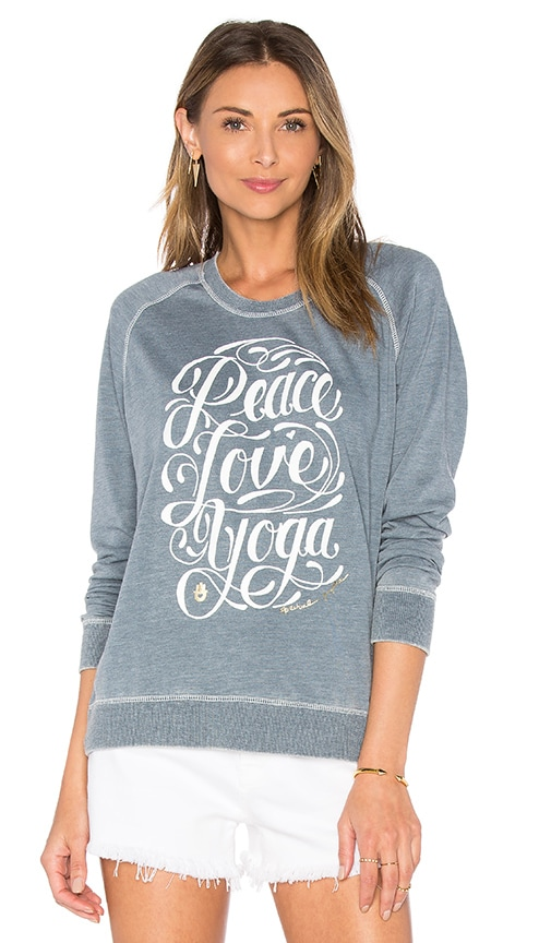 Spiritual Gangster Peace Love Yoga Shurnken Sweatshirt in Blue