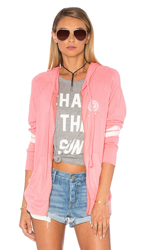 Spiritual Gangster Chase The Sun Savasana Beach Hoodie in Neon Coral