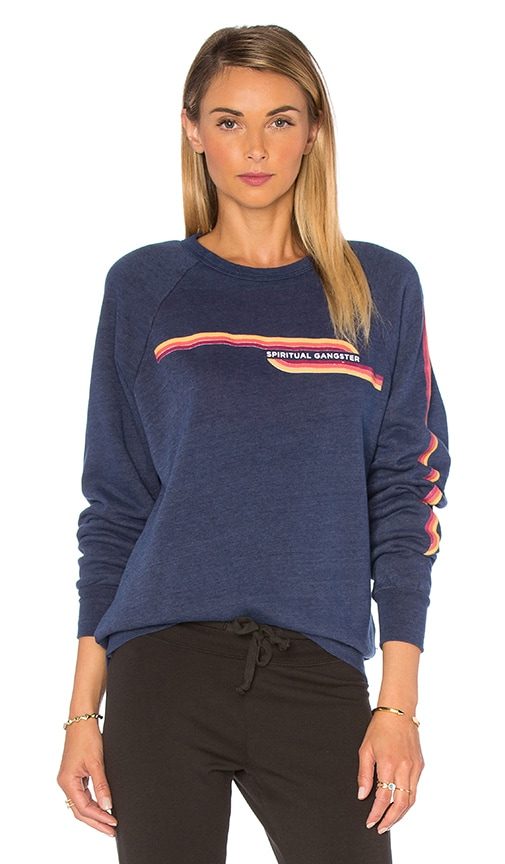 Spiritual Gangster SG Retro Stripes Sweatshirt in Navy
