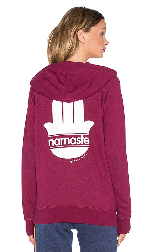 Spiritual Gangster Namaste Stripes Zip Hoodie in Currant