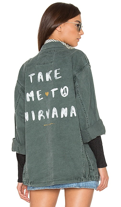 Spiritual Gangster Take Me To Nirvana Army Jacket in Gray