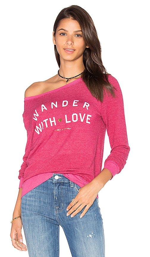 Spiritual Gangster Wander With Love Pullover in Fuchsia