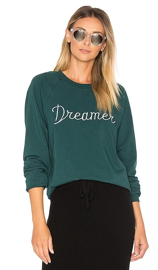 Spiritual Gangster Dreamer Embroidery Muse Slouchy Raglan Sweatshirt in Dark Green