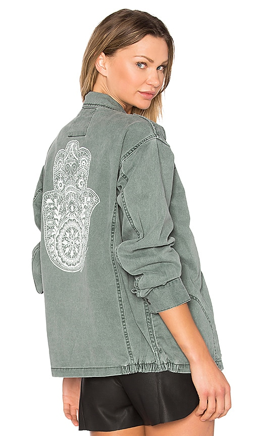 Spiritual Gangster Henna Hamsa Jacket in Green