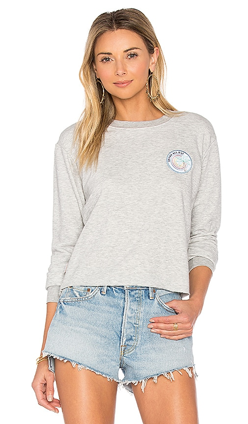 Spiritual Gangster Aloha All Day Crop Sweatshirt in Gray