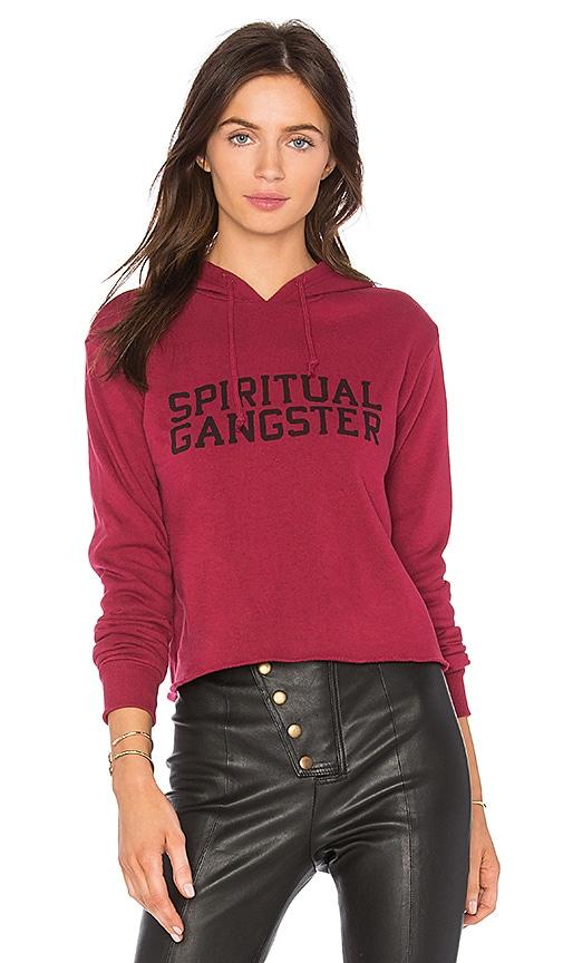Spiritual Gangster Varsity Crop Hoodie in Red