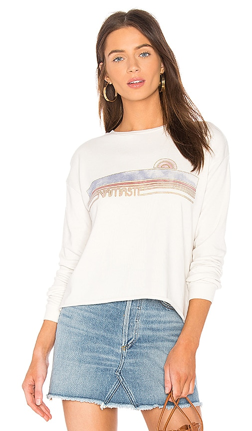 Spiritual Gangster Namaste Banner Crop Sweatshirt in White
