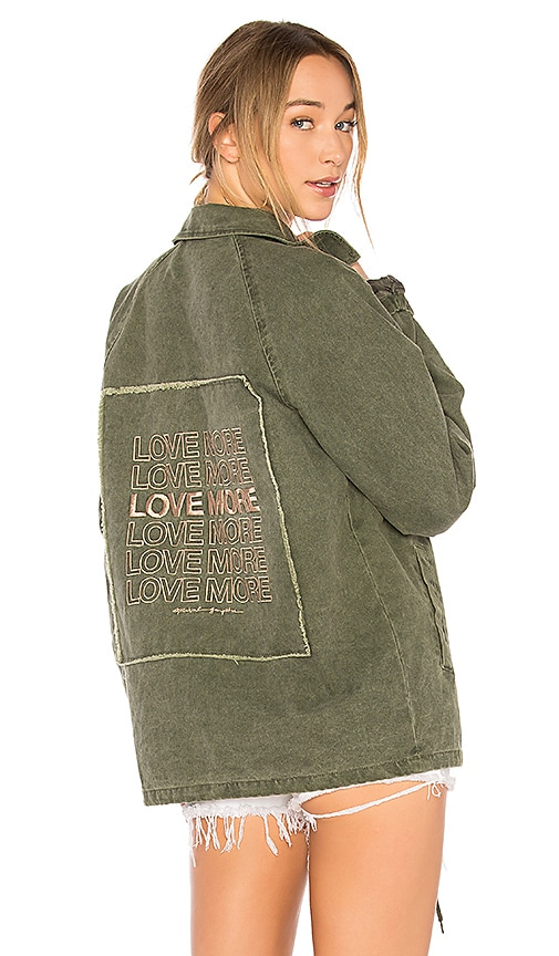 Spiritual Gangster Love More Coach Jacket in Army