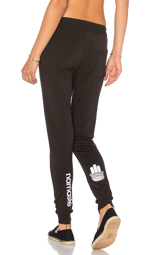 Spiritual Gangster Namaste Stripes Sweatpant in Black