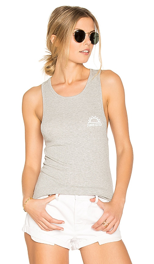 Spiritual Gangster Sunkissed Rib Racer Back Tank in Gray