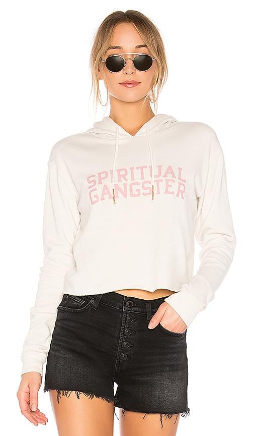 Spiritual Gangster SG Varsity Crop Hoodie in White