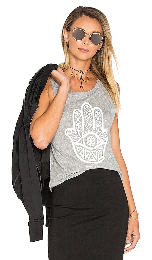 Spiritual Gangster Hamsa Eye Tank in Gray