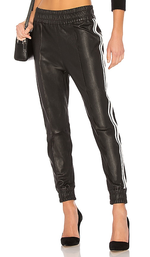 SPRWMN Leather track pants with stripes