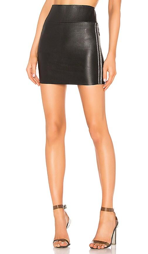 Leather Rhinestone Stripe Mini Skirt