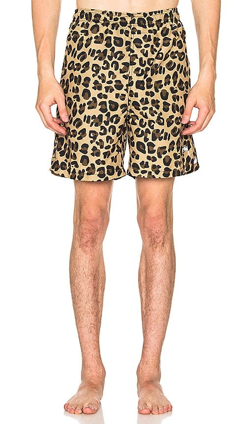 Stussy Leopard Water Short in Brown