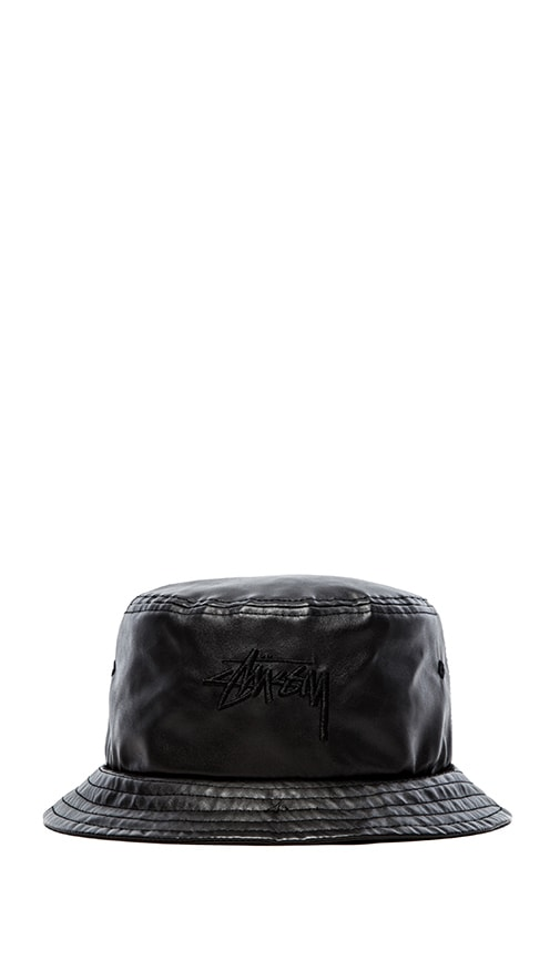 Stussy Stock Faux Leather Bucket Hat in Black  fd5fb05bf08